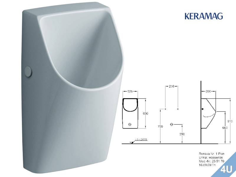 keramag urinal renova nr 1 plan wasserlos abgang nach hinten weiss. Black Bedroom Furniture Sets. Home Design Ideas