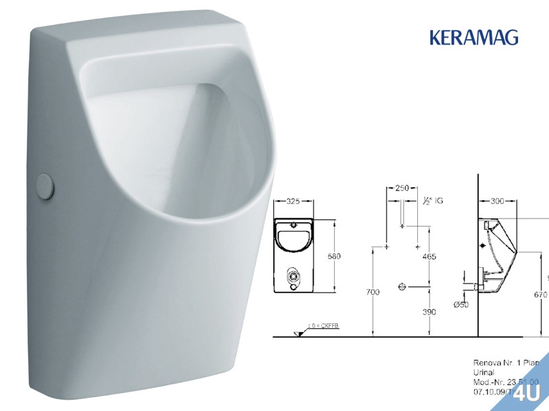 keramag urinal renova nr 1 plan zulauf hinten abgang nach hinten weiss. Black Bedroom Furniture Sets. Home Design Ideas