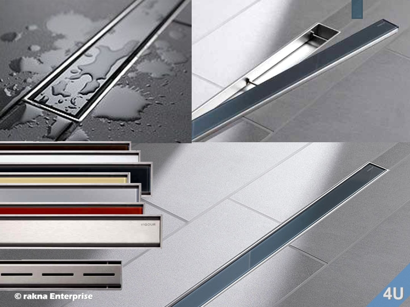 vigour duschrinne designrost f r cosima edelstahl geb rstet 700 mm. Black Bedroom Furniture Sets. Home Design Ideas
