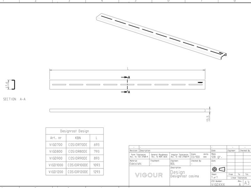 vigour duschrinne designrost f r cosima edelstahl geb rstet 900 mm. Black Bedroom Furniture Sets. Home Design Ideas