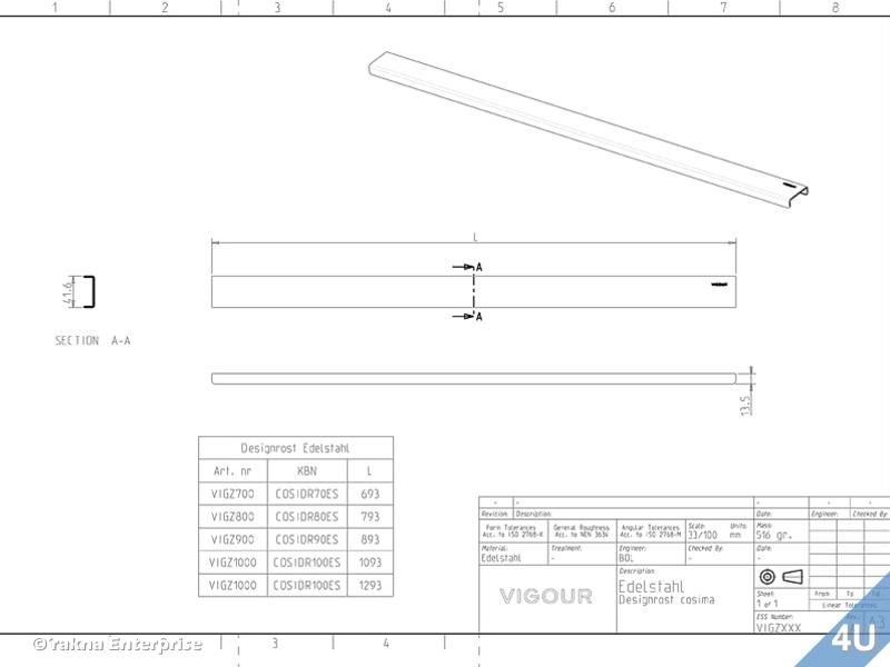 vigour duschrinne designrost f r cosima edelstahl v2 geb rstet 1200 mm. Black Bedroom Furniture Sets. Home Design Ideas