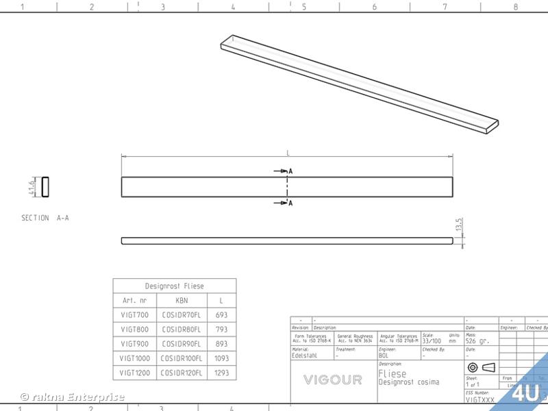 vigour duschrinne designrost f r cosima edelstahl zum einfliesen 800 mm. Black Bedroom Furniture Sets. Home Design Ideas