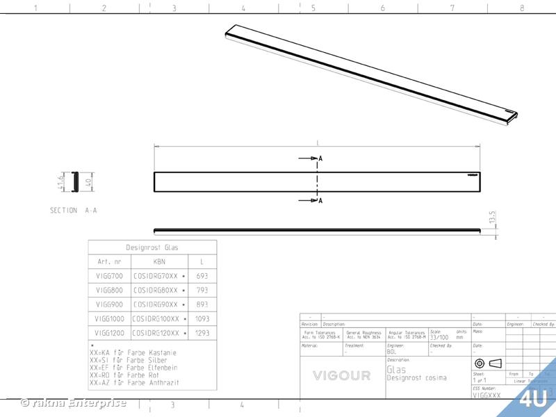 vigour duschrinne designrost f r cosima edelstahl design glas weiss 1200mm. Black Bedroom Furniture Sets. Home Design Ideas